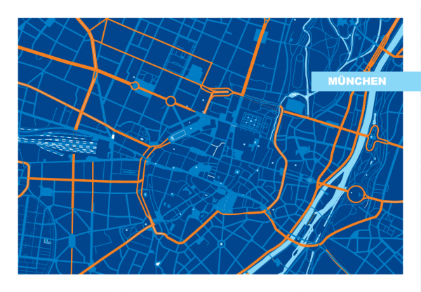 Ausschnitt - München Grafik blau