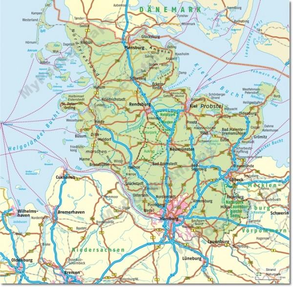 Schleswig-Holstein - Regionalkarte