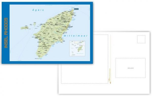 Insel Rhodos Postkartenansicht Vorderseite und Rückseite