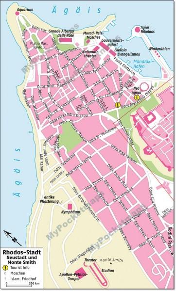 Stadtplan Rhodos Neustadt und Monte Smith