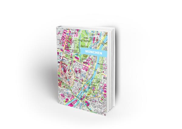 Notizbuch mit Stadtplan von München