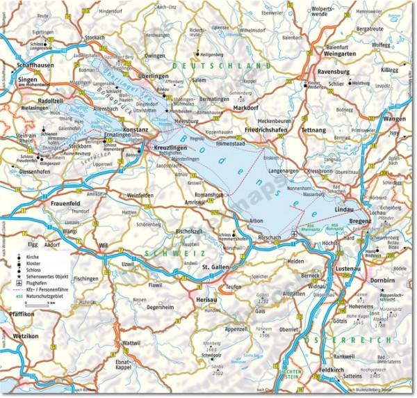 Bodensee - Deutschland, Österreich, Schweiz Umgebungskarte