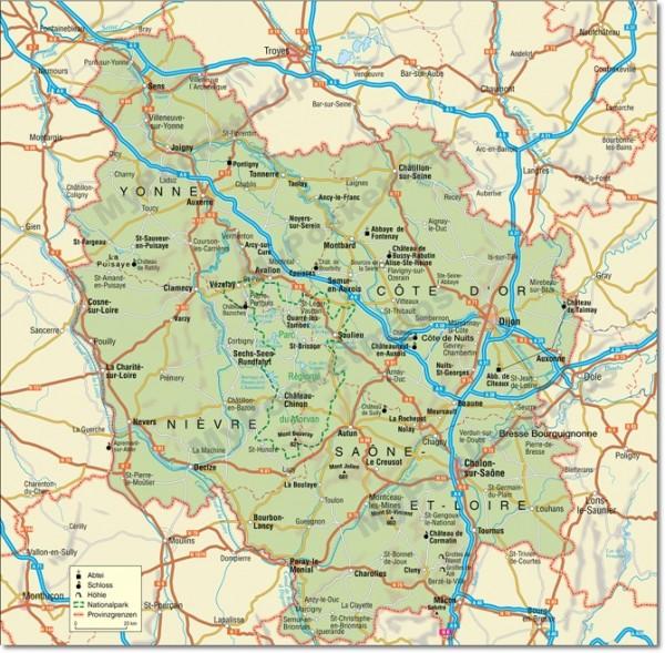 Frankreich - Burgund Umgebungskarte