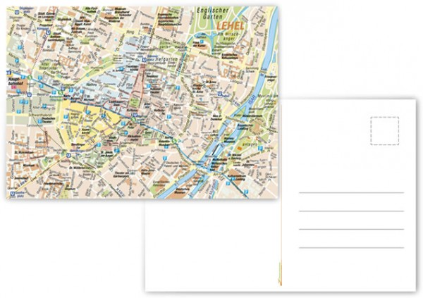 Stadtplan München - Vorderseite, Rückseite, Postkarte, Vorschaubild
