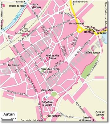 Burgund Stadtplan Autun
